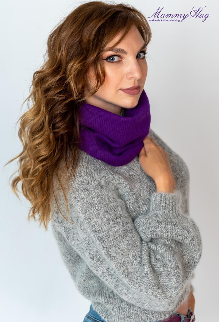 purple neck warmer combined with mohair sweater