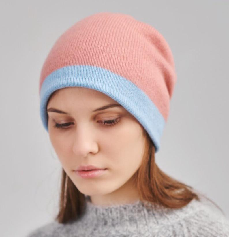 Reversible cashmere beanie hat