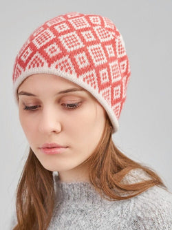 girl in a beanie hat with a pattern