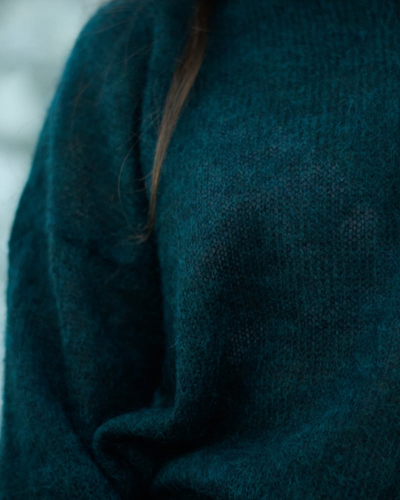 emerald mohair pullover close up