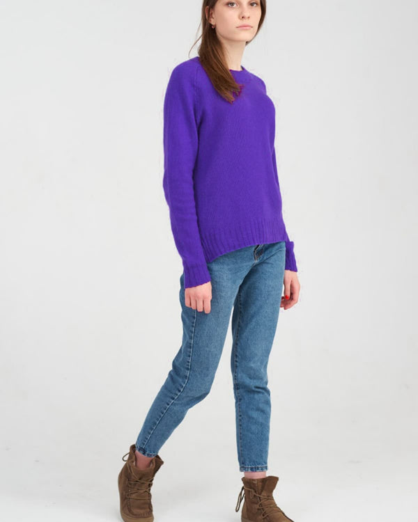 Womens Indigo Cashmere Sweater with Jeans