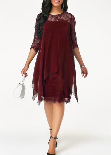 Three Quarter Sleeve Wine Red Lace Dress