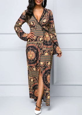 Long Sleeve Printed Front Slit Maxi Dress