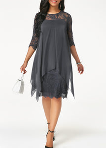 Three Quarter Sleeve Round Neck Lace Dress