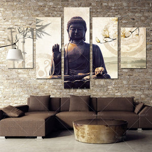 5 Panel Buddha Canvas  Painting