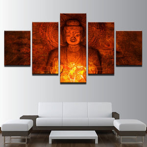 LIMITED EDITION 5 Pieces Buddha Canvas Painting