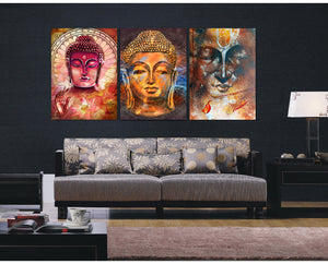 LIMITED EDITION BUDDHA TRANSCENSION 3-PIECE CANVAS PAINTING