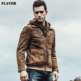 Real leather Motorcycle Hooded jacket