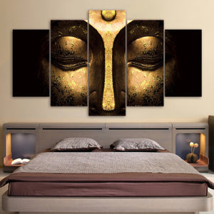 LIMITED EDITION 5 Pieces Gold Buddha Peaceful Canvas  Painting