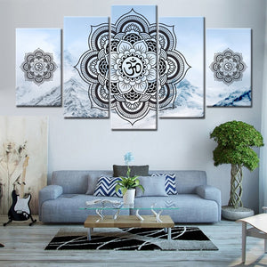 OM buddha Mandala 5 Piece Canvas Painting