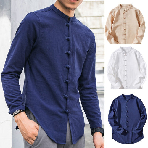 Long-Sleeve Buton Linen Shirt
