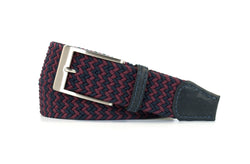 Maroon and Navy Elastic Stretch Woven Belt