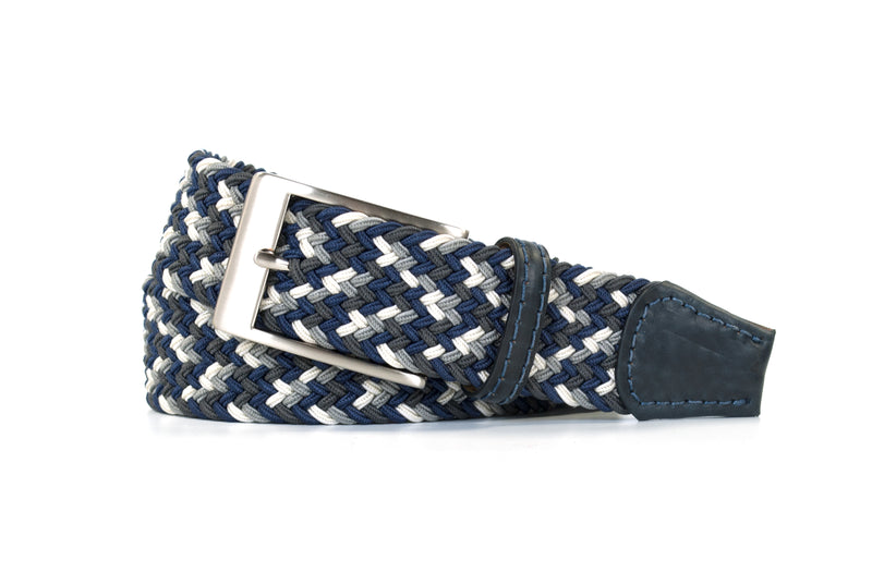 Navy, Grey, and White Elastic Stretch Woven Belt