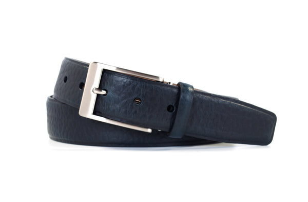 Navy Bison Leather Belt