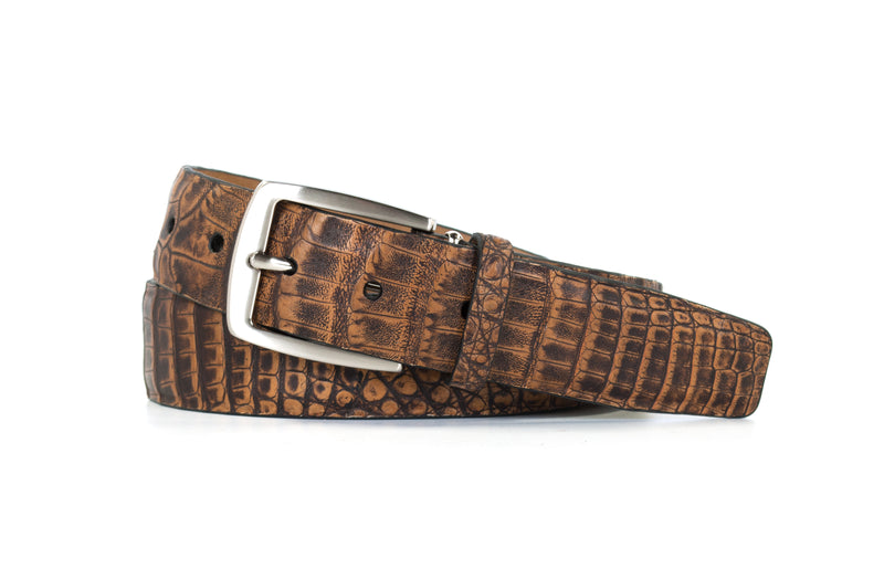 2 Toned Antique Pecan Caiman Crocodile