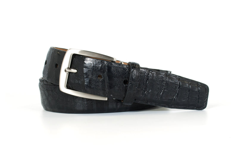 Black Caiman Crocodile Belt