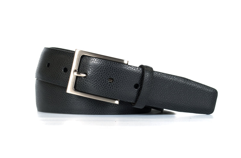 Black Pebble Grain Leather Belt