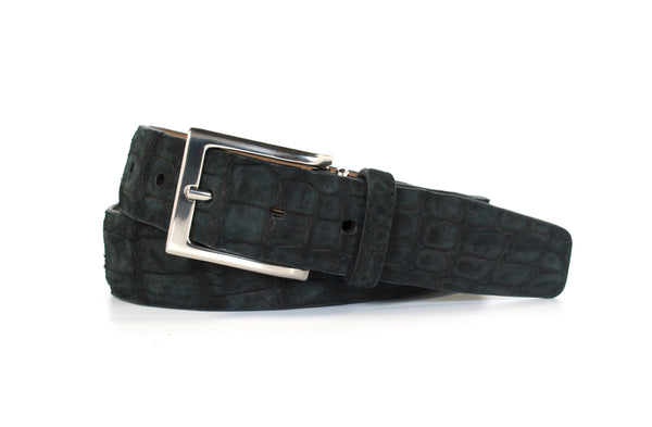 Black Buffed American Alligator Leather