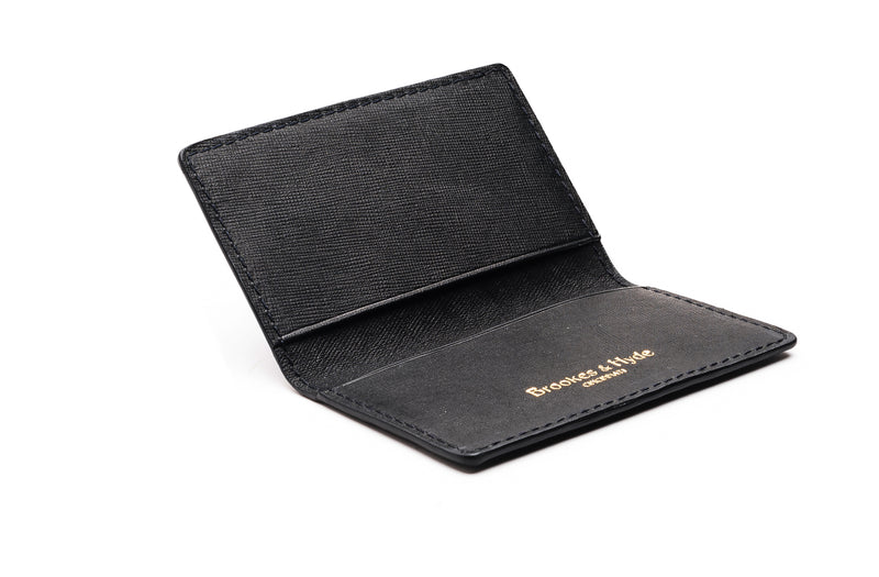 Black Saffian 2 Pocket Card Case