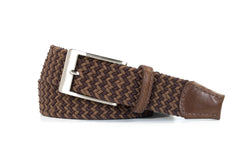 Brown and Tan Elastic Stretch Woven Belt