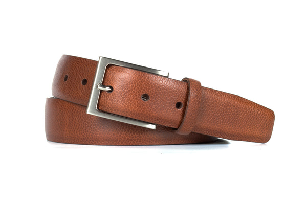 Brown Pebble Grain Leather Belt