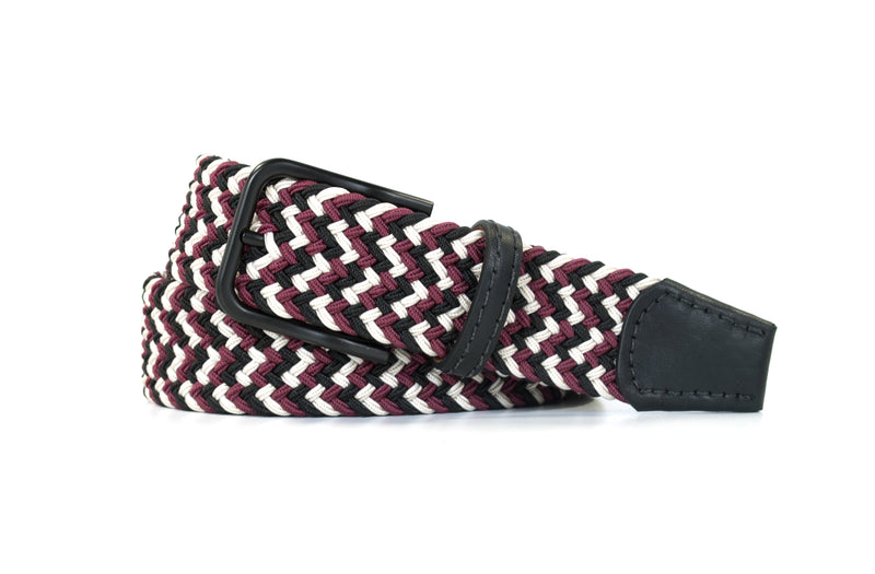 Maroon, White, and Black Elastic Stretch Woven Belt
