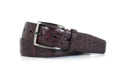 2 Tone Burgundy Nile Crocodile Belt