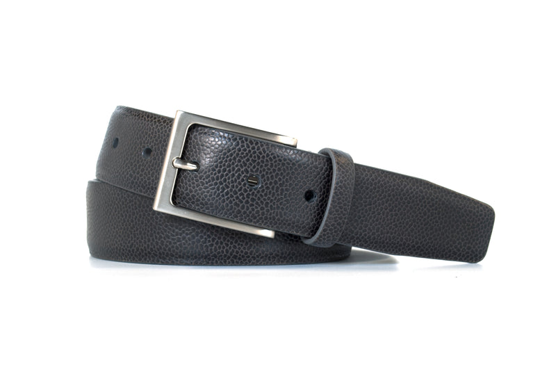 Charcoal Pebble Grain Leather Belt