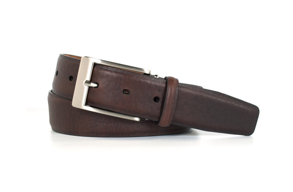 Chocolate Bison Leather Belt
