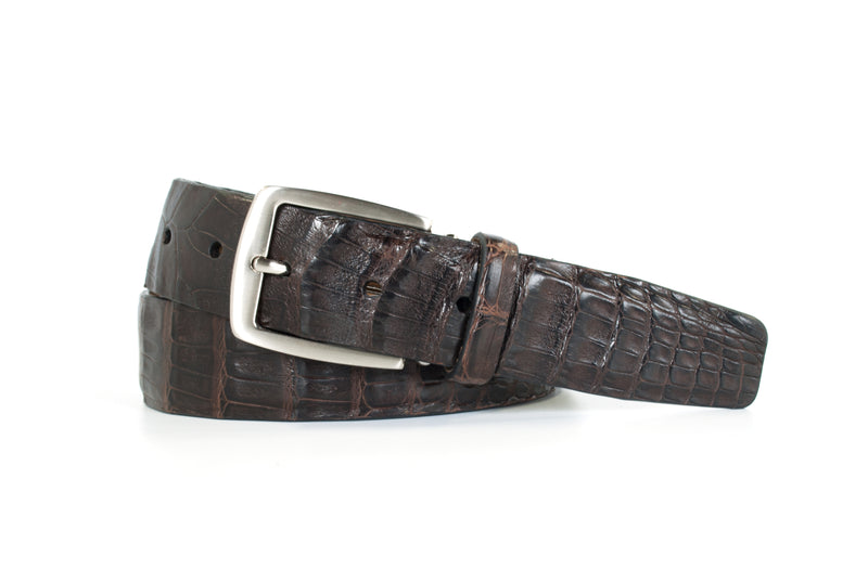 Chocolate Caiman Crocodile Belt