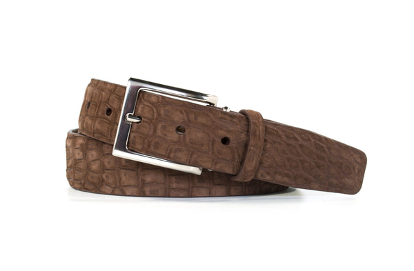 Chocolate Buffed Alligator Belt