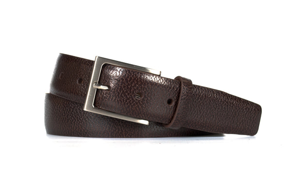 Chocolate Pebble Grain Leather Belt