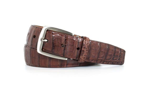 Cigar Brown Caiman Crocodile Belt