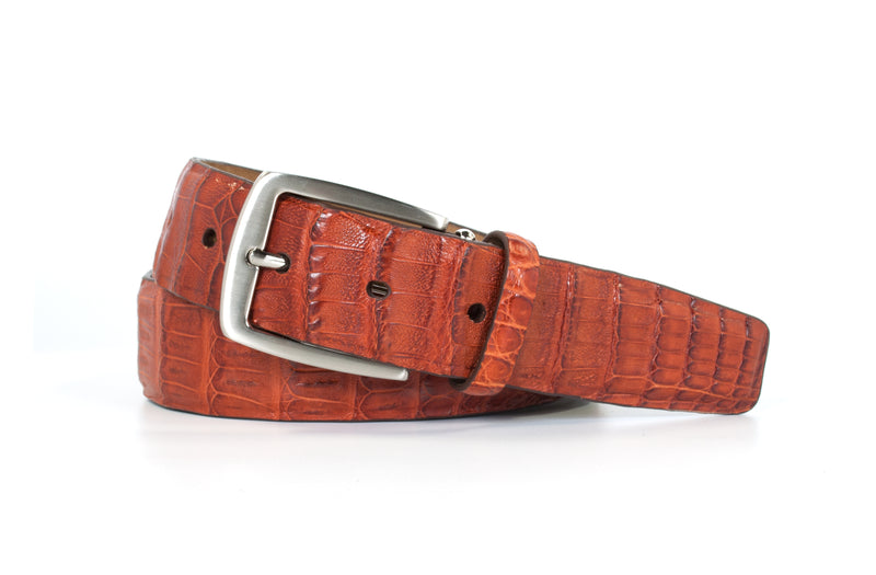 Cognac Caiman Crocodile Belt