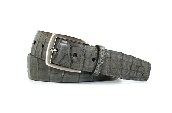 Grey Caiman Crocodile Belt