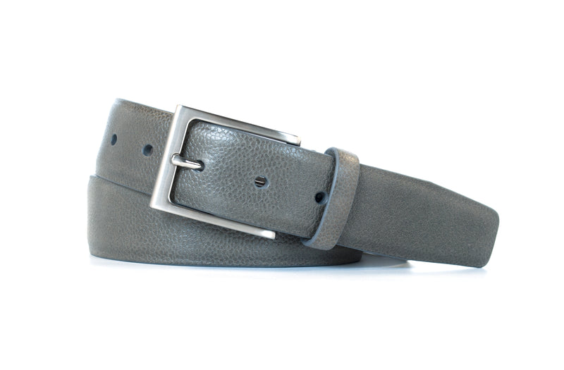 Grey Pebble Grain Leather Belt