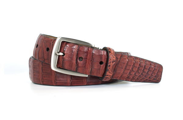 Italian Brown Caiman Crocodile Belt