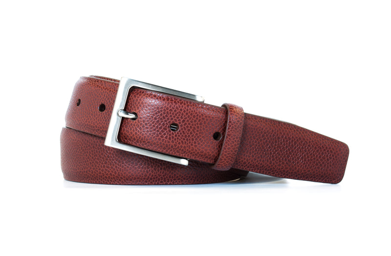 Italian Brown Pebble Grain Leather Belt