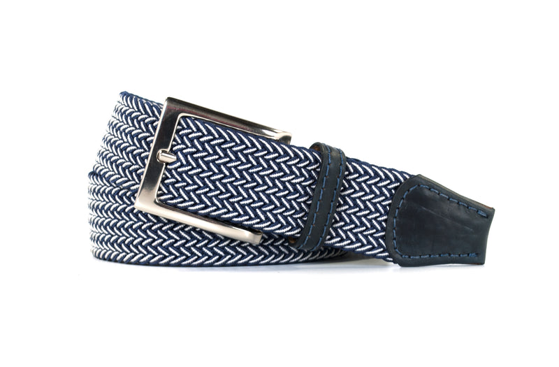 Navy and White Elastic Stretch Woven Belt