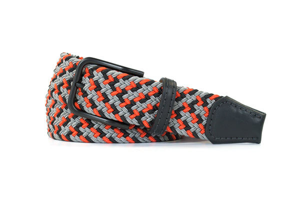 Orange, Black, and Grey Elastic Stretch Woven Belt