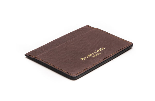 Roasted Coffee Saffian 3 Pocket Card Case