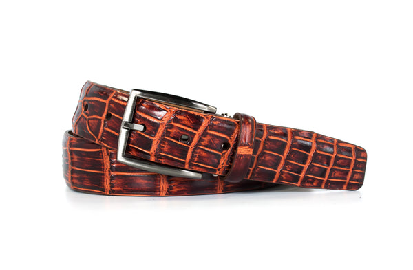2 Tone Rum Brown Nile Crocodile Belt