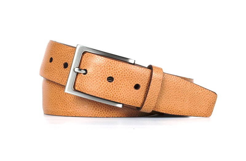 Tan Pebble Grain Leather Belt