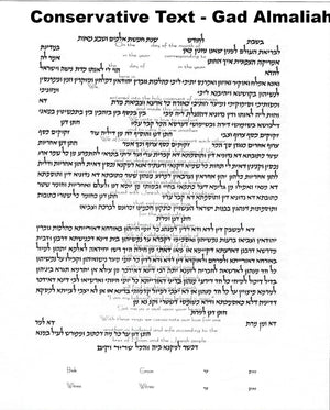 Conservative Ketubah Text with Lieberman Clause by Gad Almaliah