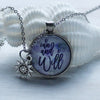 I Can and I Will Cabochon Necklace with sun charm on 2 inch chain by Favored Whispers. Inspirational Jewelry.