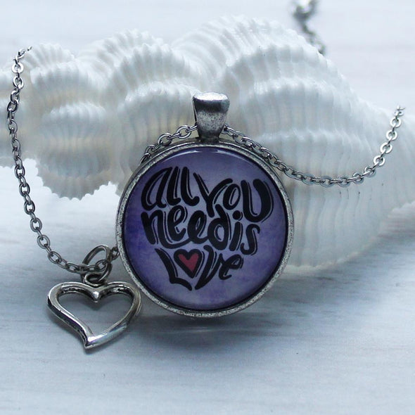 All You Need Is Love Necklace, favored whispers, cabochon, silver, heart charm, handmade, artisan, inspirational jewelry, made in usa