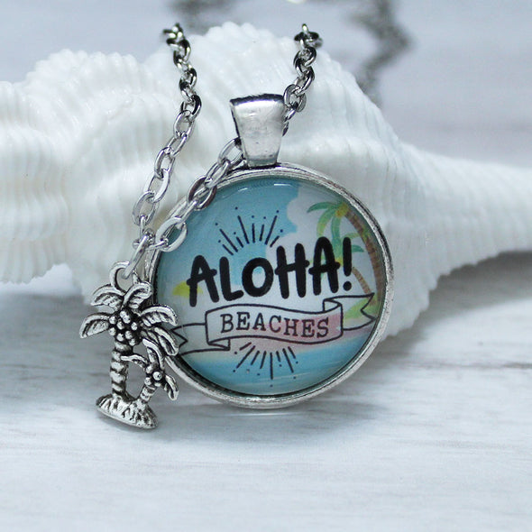Aloha beaches silver cabochon necklace with palm tree charm by Favored Whispers