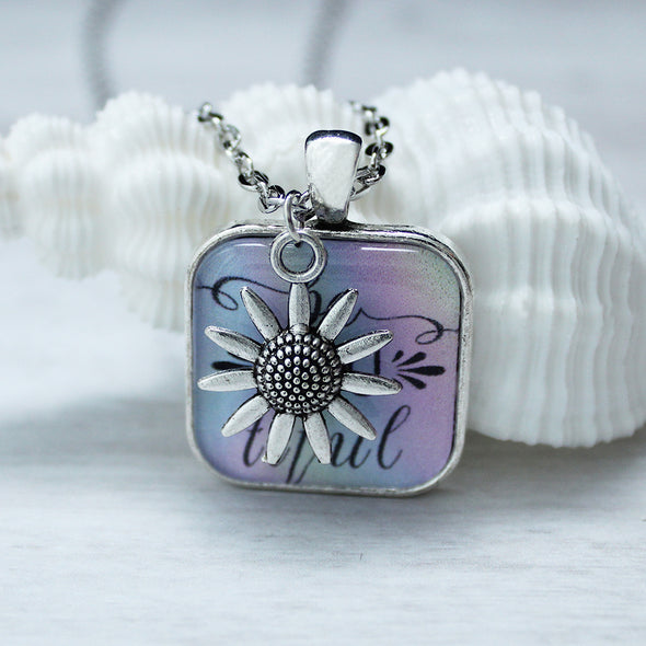 BeYoutiful square cabochon necklace view with sunflower charm by Favored Whispers.