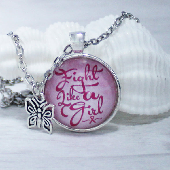 Fight Like A Girl Breast Cancer Awareness Necklace