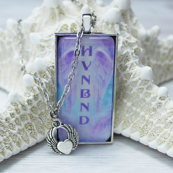 Heaven Bound 1x2 rectangle cabochon necklace on 24 inch silver chain with angel wings and heart charm by Favored Whispers Christian jewelry collection.